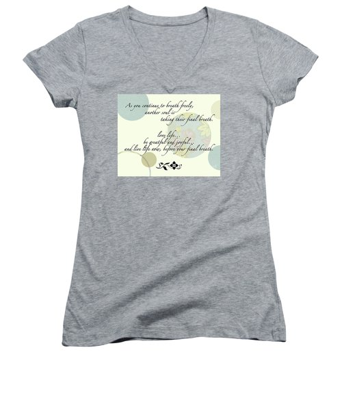 Last Breath Women's V-Neck T-Shirt (Junior Cut) by Renie Rutten