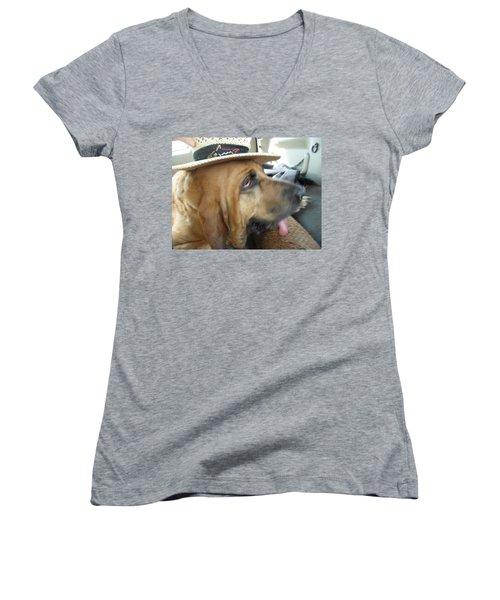 Last Car Ride Women's V-Neck T-Shirt (Junior Cut) by Val Oconnor