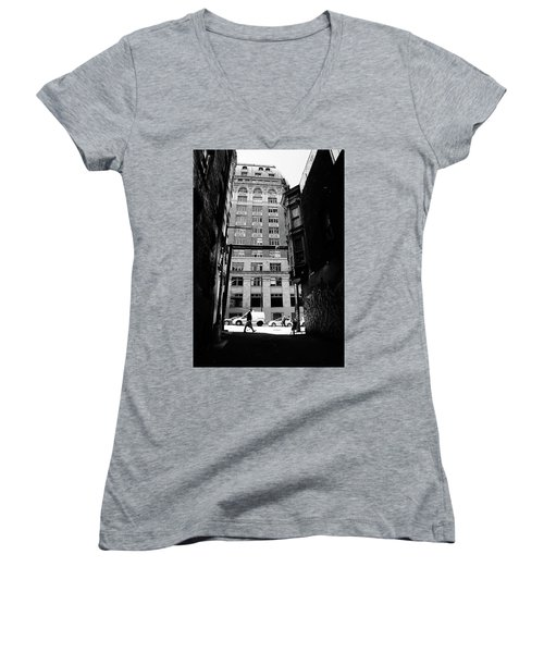 Women's V-Neck T-Shirt (Junior Cut) featuring the photograph Last Jacket  by Empty Wall