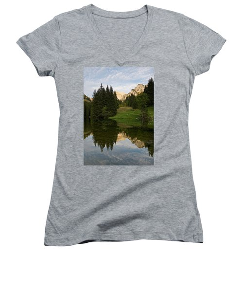 Last Light At Lac De Fontaine Women's V-Neck (Athletic Fit)