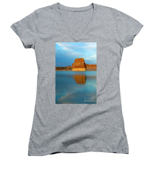 Women's V-Neck T-Shirt (Junior Cut) featuring the photograph Last Light At Lone Rock by Mike Dawson