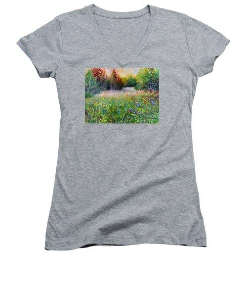 Last Light Women's V-Neck T-Shirt (Junior Cut) by Hailey E Herrera