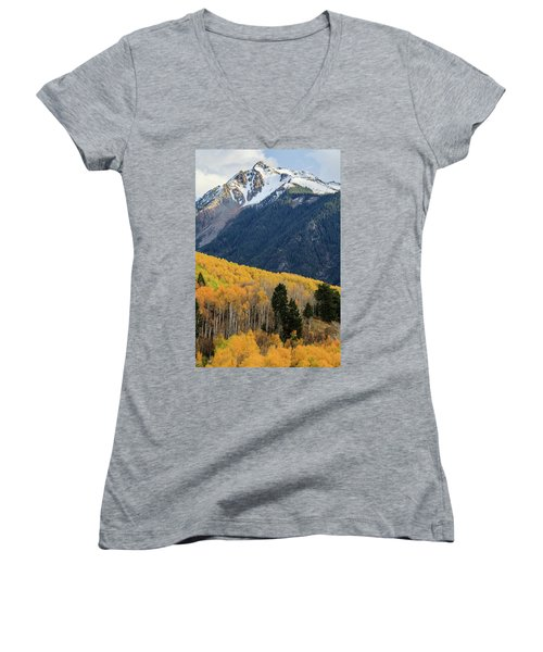 Women's V-Neck T-Shirt featuring the photograph Last Light Of Autumn Vertical by David Chandler