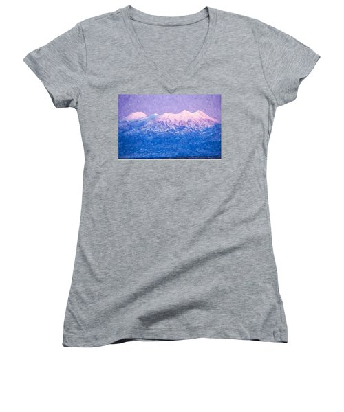 Women's V-Neck T-Shirt (Junior Cut) featuring the digital art Last Light On Mount Peale From Buck Canyon Overlook by Kai Saarto