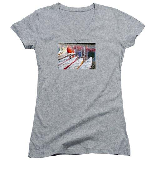 Last Of The Dragon Boats Women's V-Neck T-Shirt (Junior Cut) by Chris Dutton