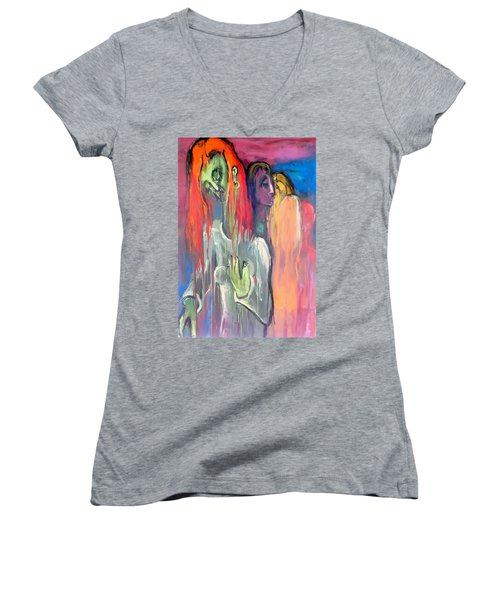 Women's V-Neck T-Shirt (Junior Cut) featuring the painting Last Original Lineup by Kenneth Agnello