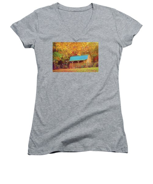 Women's V-Neck T-Shirt featuring the photograph Last Rays Of The Sun by Bellesouth Studio