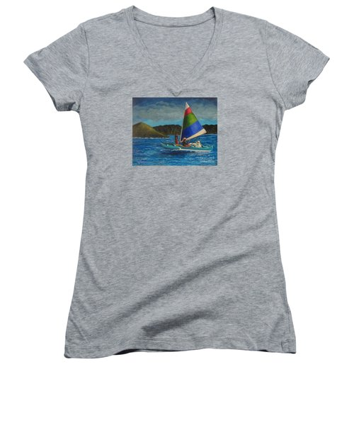 Last Sail Before The Storm Women's V-Neck T-Shirt (Junior Cut) by Laurie Morgan