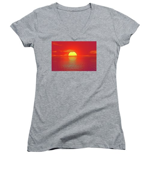 Women's V-Neck featuring the painting Last Sunset by Harry Warrick