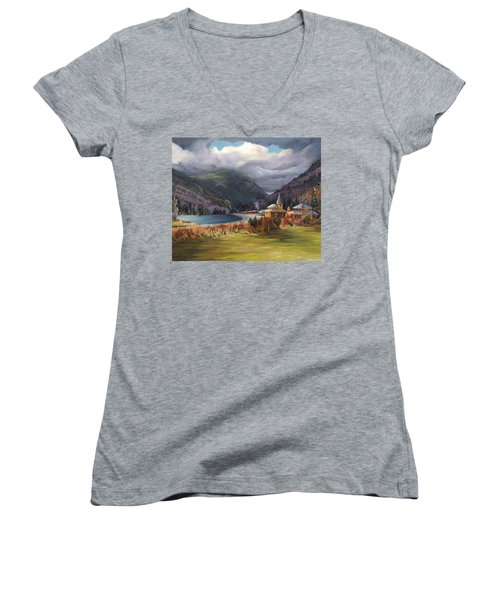 Last Train To Crawford Notch Depot Women's V-Neck (Athletic Fit)