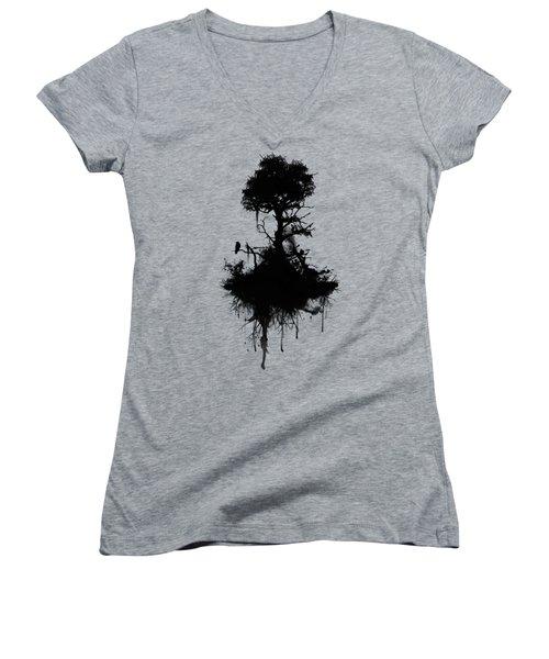 Last Tree Standing Women's V-Neck T-Shirt (Junior Cut) by Nicklas Gustafsson
