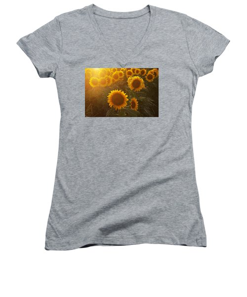 Late Afternoon Golden Glow Women's V-Neck T-Shirt (Junior Cut) by Karen McKenzie McAdoo