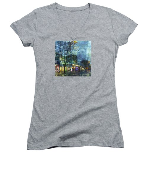 Late Afternoon In Autumn Women's V-Neck T-Shirt (Junior Cut) by LemonArt Photography
