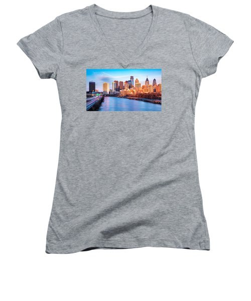 Late Afternoon In Philadelphia Women's V-Neck