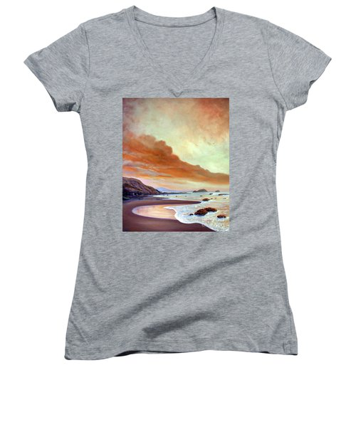 Women's V-Neck T-Shirt (Junior Cut) featuring the painting Late Afternoon On San Simeon Beach by Michael Rock