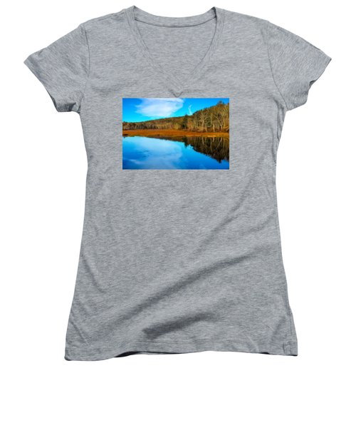 Late Fall At A Connecticut Marsh. Women's V-Neck