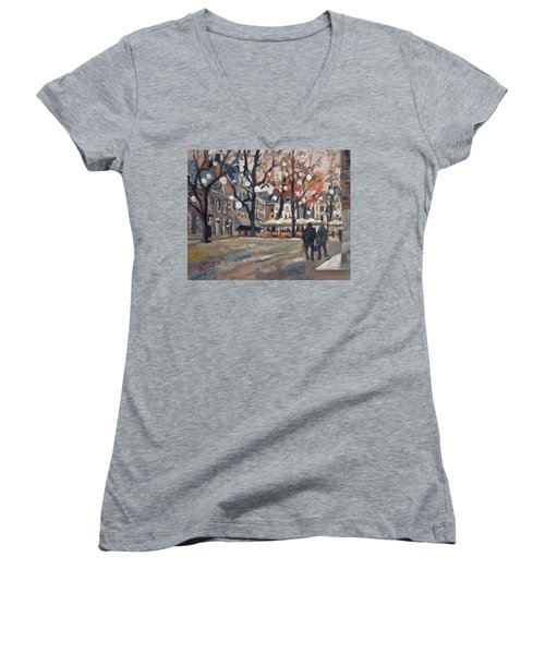 Late November At The Our Lady Square Maastricht Women's V-Neck T-Shirt (Junior Cut)