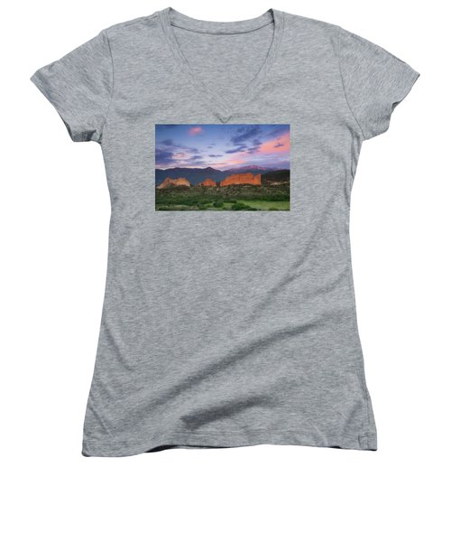 Women's V-Neck T-Shirt (Junior Cut) featuring the photograph Late Spring Sunrise by Tim Reaves