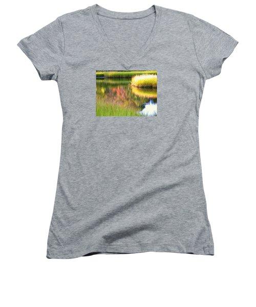 Stillness Of Late Summer Marsh  Women's V-Neck T-Shirt