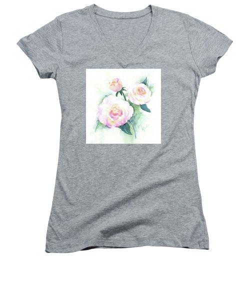 Late Summer Roses Women's V-Neck