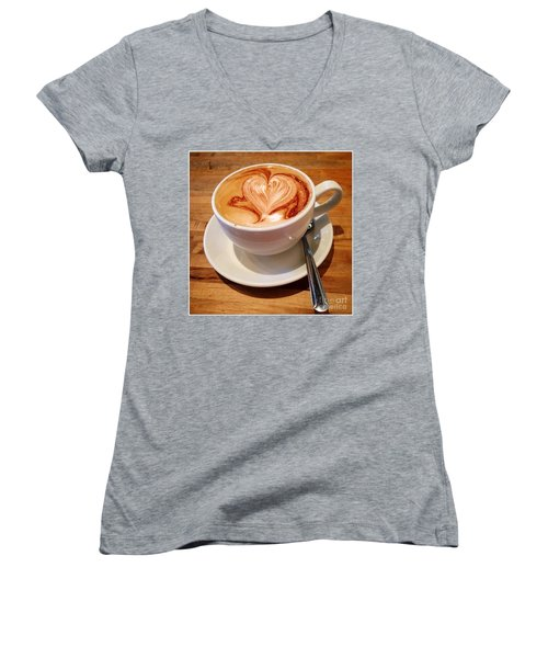 Latte Love Women's V-Neck T-Shirt (Junior Cut) by Susan Garren