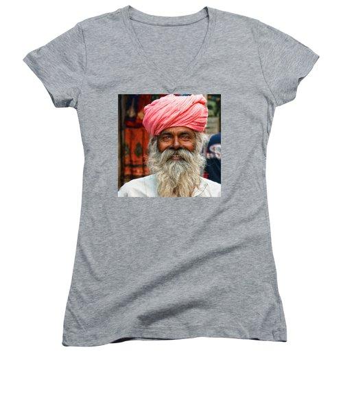 Laughing Indian Man In Turban Women's V-Neck