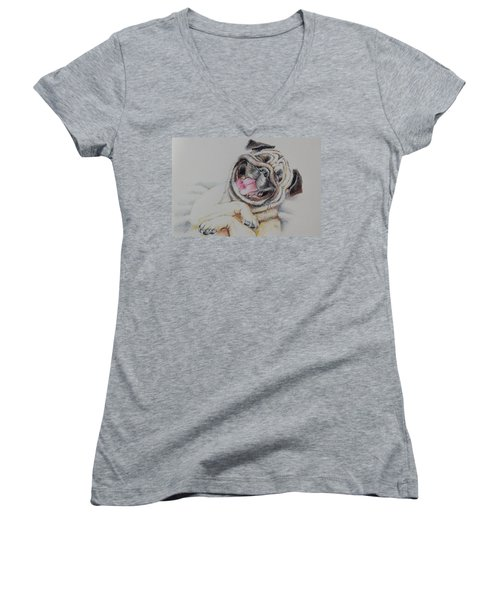 Laughing Pug Women's V-Neck (Athletic Fit)