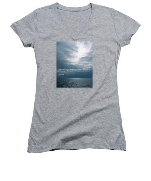 Launch Yourself On Every Wave Women's V-Neck T-Shirt (Junior Cut) by Deborah Dendler