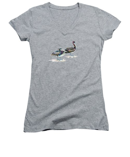 Laurel And Hardy, Brown Pelicans Women's V-Neck