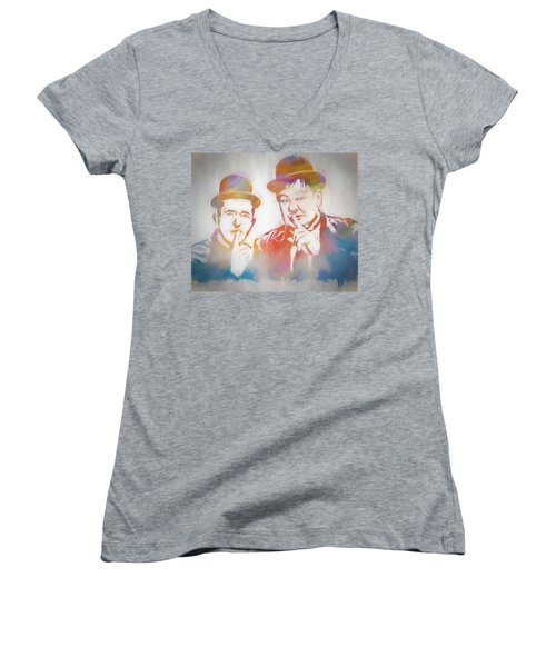 Laurel And Hardy Women's V-Neck T-Shirt (Junior Cut) by Dan Sproul