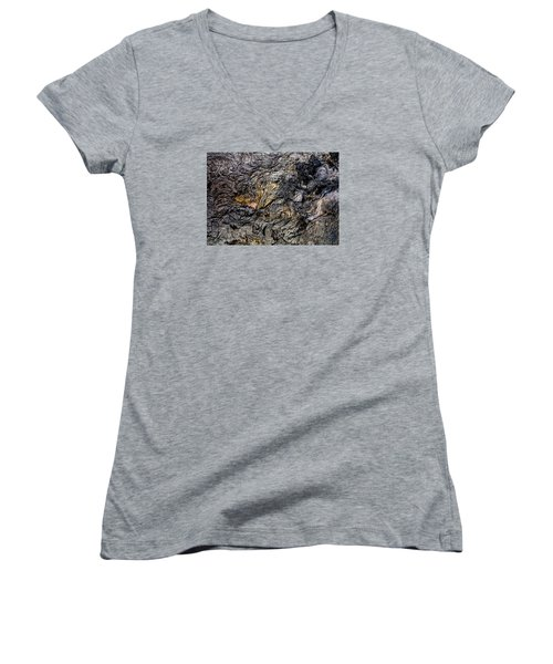 Women's V-Neck T-Shirt (Junior Cut) featuring the photograph Lava by M G Whittingham