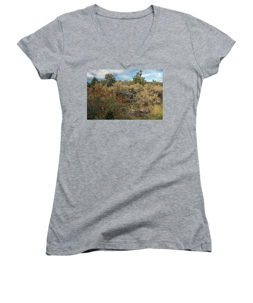 Lava Formations Women's V-Neck T-Shirt (Junior Cut) by Cindy Murphy - NightVisions