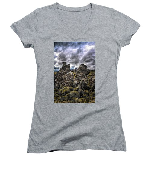 Lava Rock And Clouds Women's V-Neck