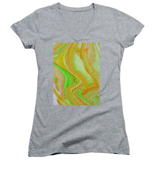 Women's V-Neck featuring the painting Lava Sunshine by Vicki Winchester
