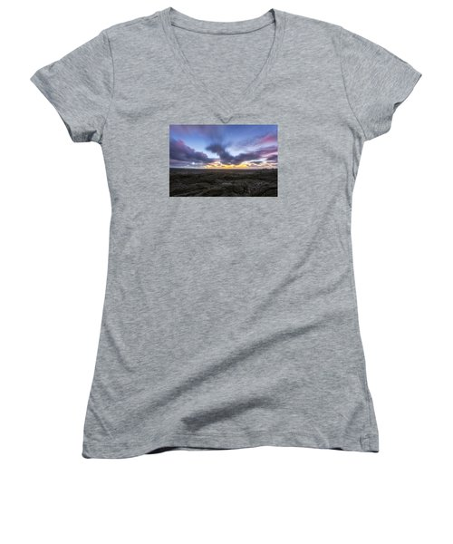 Women's V-Neck T-Shirt (Junior Cut) featuring the photograph Lava Twilight by Ryan Manuel