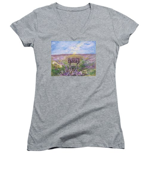 Lavendar Wishes Women's V-Neck T-Shirt (Junior Cut) by Leslie Allen
