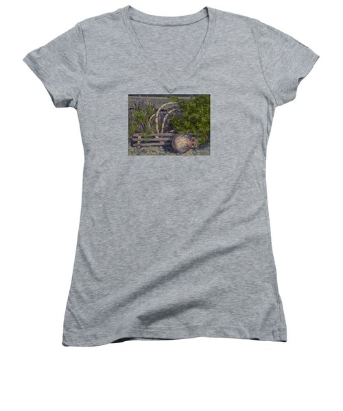 Lavender And Lobster Women's V-Neck T-Shirt (Junior Cut) by Jane Thorpe