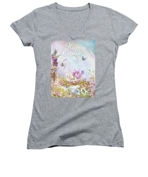 Women's V-Neck T-Shirt (Junior Cut) featuring the mixed media Lavender Easter by Mo T
