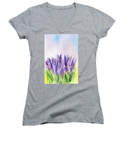 Women's V-Neck featuring the painting Lavender Field by Asha Sudhaker Shenoy