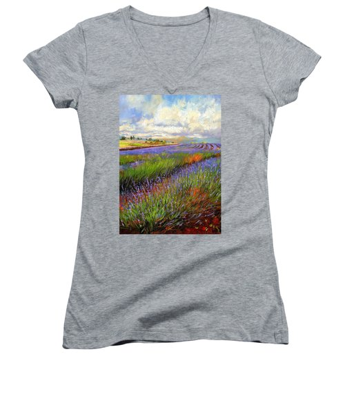 Lavender Field Women's V-Neck T-Shirt