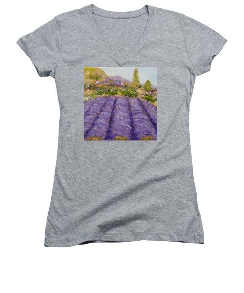 Lavender Field Women's V-Neck T-Shirt
