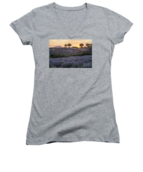 Women's V-Neck featuring the photograph Lavender Field Provence  by Juergen Held