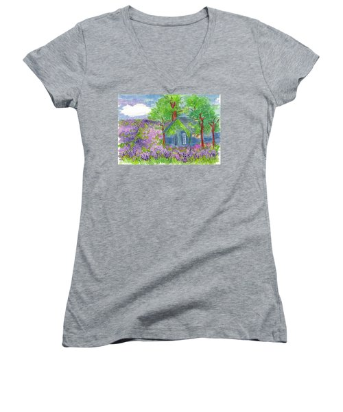 Women's V-Neck T-Shirt (Junior Cut) featuring the painting Lavender Fields by Cathie Richardson
