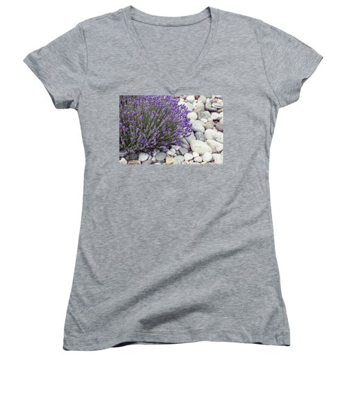Lavender Flower In The Garden,park,backyard,meadow Blossom In Th Women's V-Neck T-Shirt