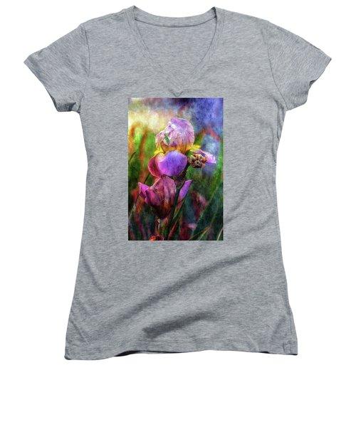 Lavender Iris Impression 0056 Idp_2 Women's V-Neck (Athletic Fit)