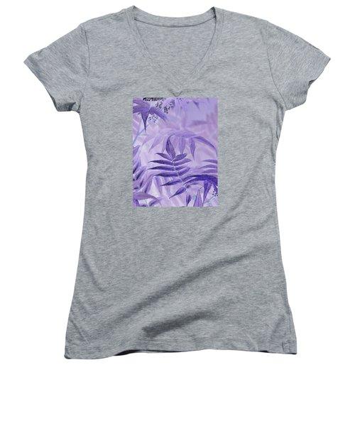 Lavender Leaves  Women's V-Neck T-Shirt