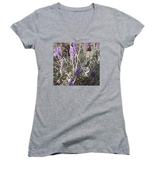 Lavender Moment Women's V-Neck T-Shirt (Junior Cut) by Winsome Gunning