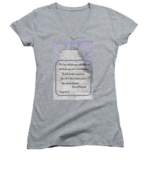 Lavender Path With Scripture Art Isiah 58 Women's V-Neck