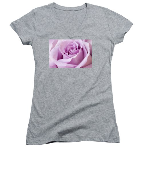 Lavender Rose Just About Perfect  Women's V-Neck T-Shirt (Junior Cut) by Sandra Foster