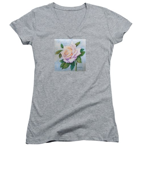Women's V-Neck T-Shirt (Junior Cut) featuring the drawing Lavender Rose by Marna Edwards Flavell
